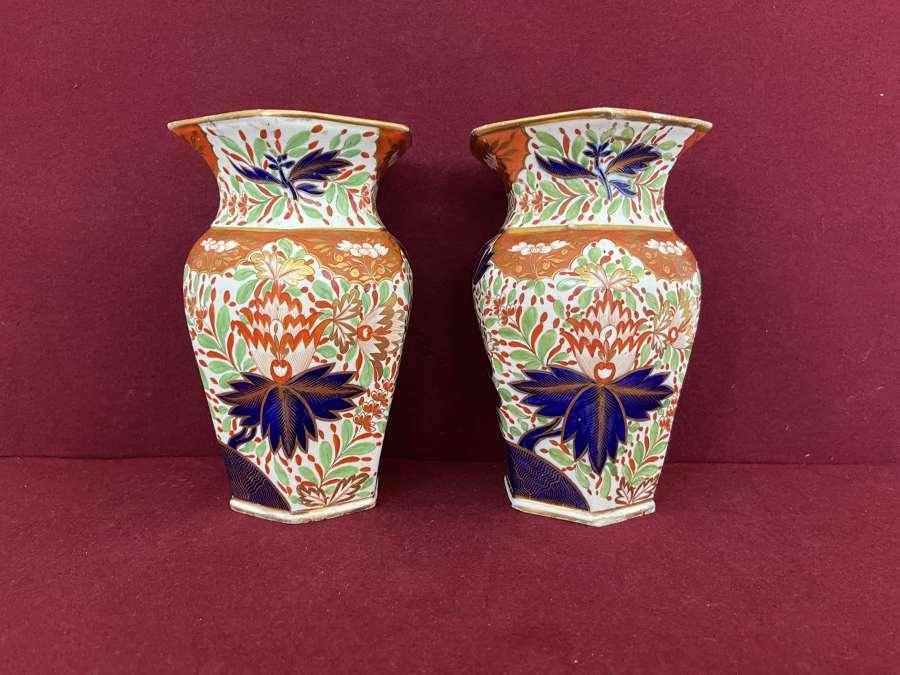 A pair of Chamberlain Worcester hexagonal vases c.1805-15