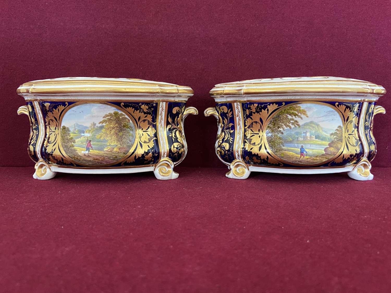A pair of Derby porcelain Bough Pots c.1815