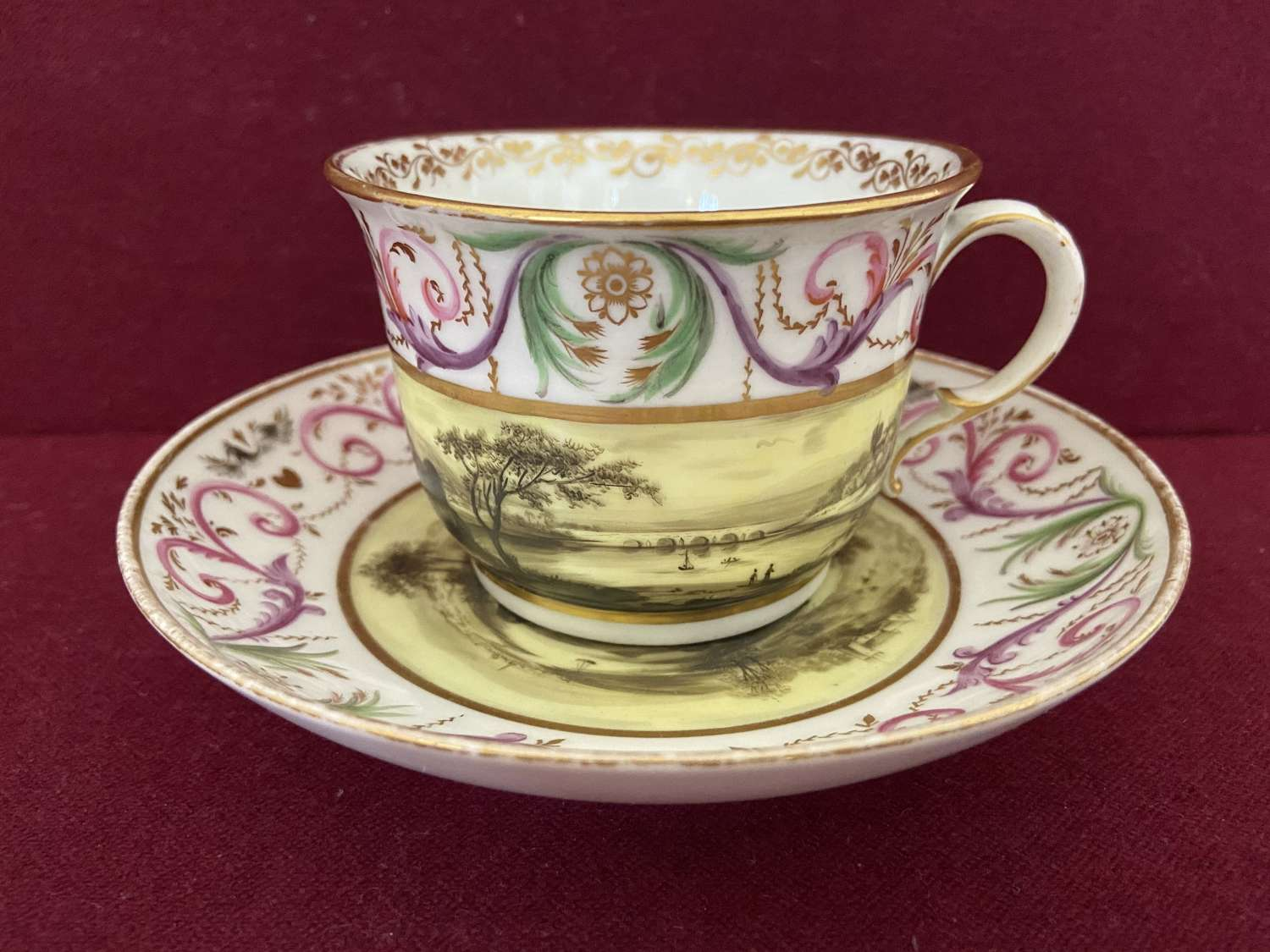 A very rare Mansfield decorated Breakfast cup and saucer c.1799-1803