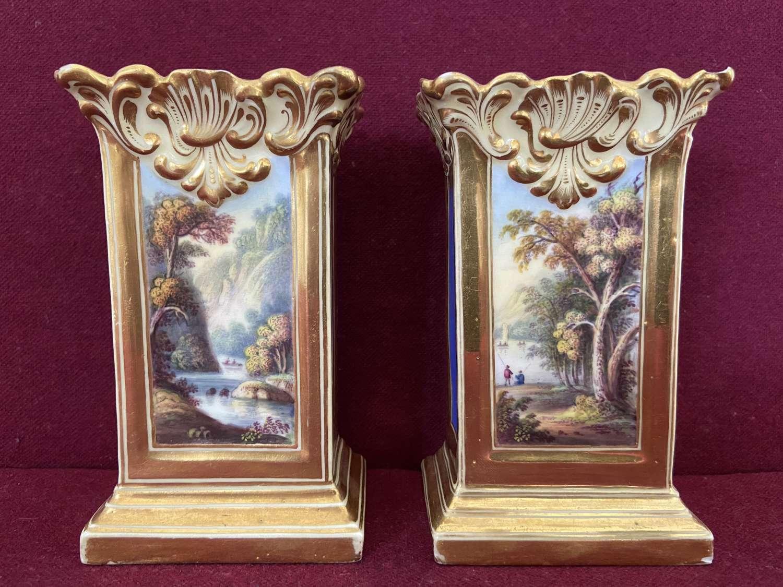 A pair of Minton 'Dresden' shape match pots c.1830-35
