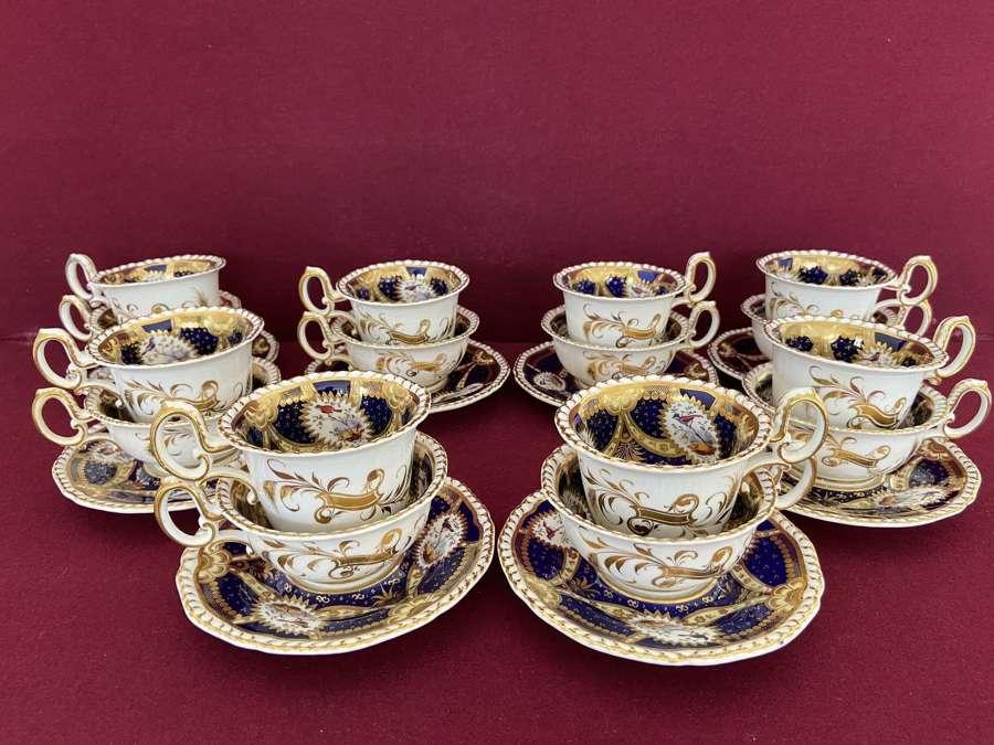 8 trios from a H & R Daniel tea service c.1826