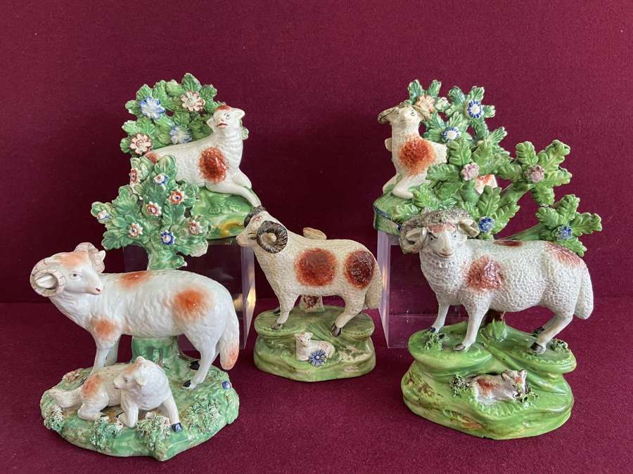 A selection of early 19th century Staffordshire pottery Ram's c.1820