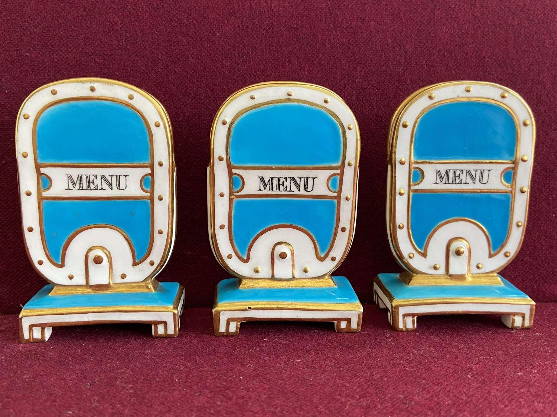 A set of 3 Minton porcelain Menu Holders c.1873