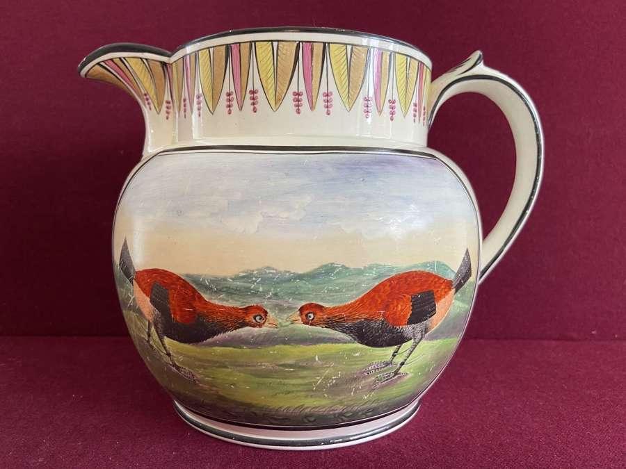 A fine Creamware Cock Fighting jug dated 1824