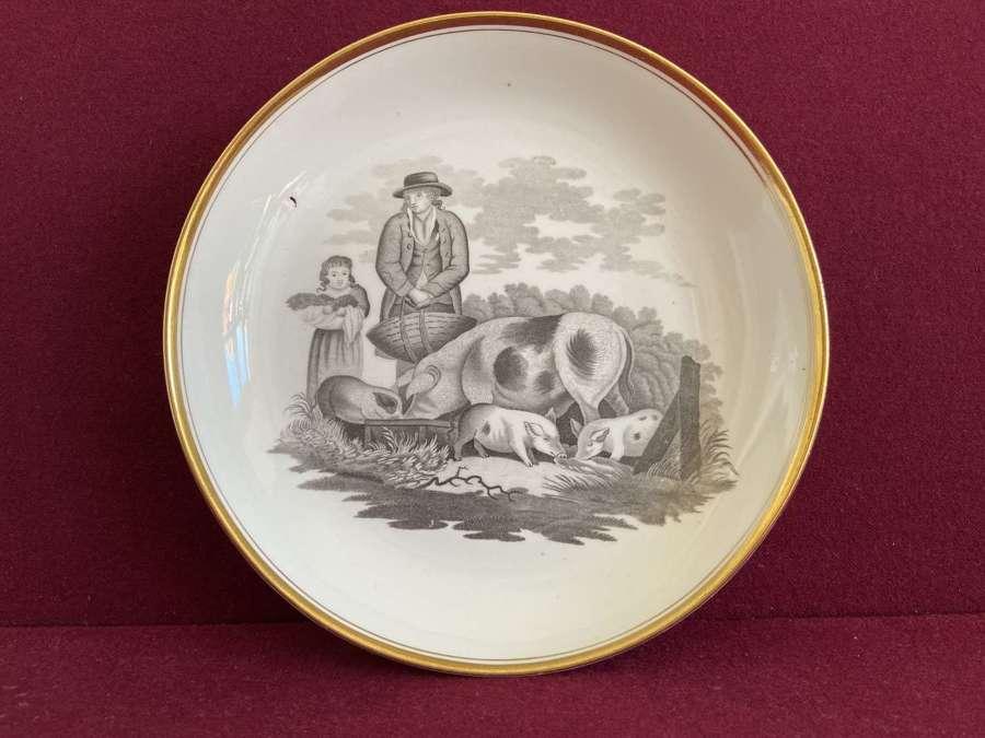 A fine Spode saucer dish bat printed in pattern 557
