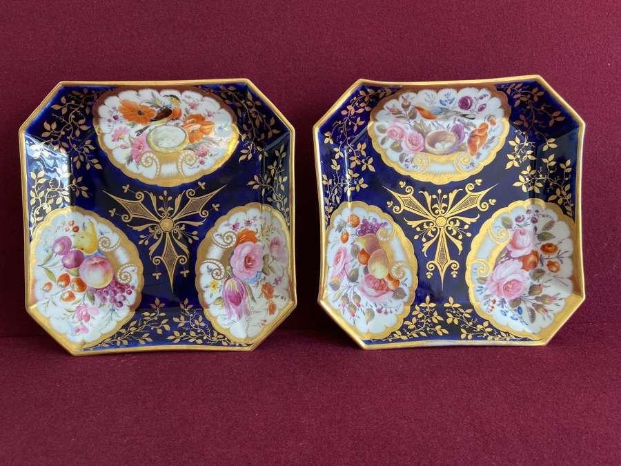 A pair of Coalport square shaped dessert dishes c.1815