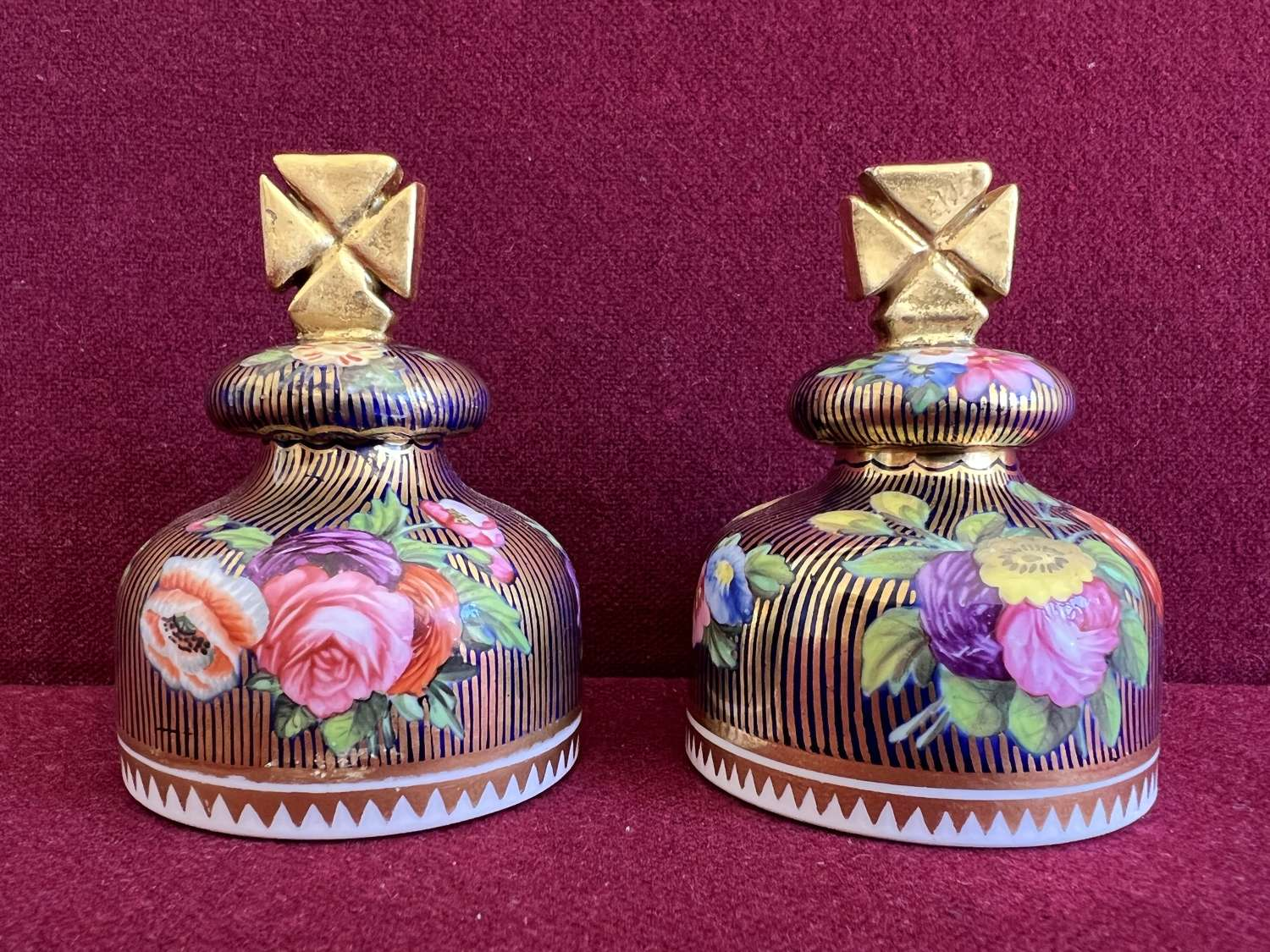 A rare pair of Spode pattern 2478 covered scent bottles c.1815-20